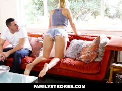 Family Strokes - Creepy Brother Stalks and Fucks Step-Sister