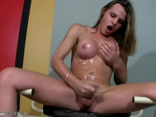 Teen tranny with bigtits oils up her massive ass and cock