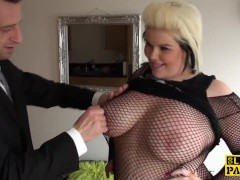 Fat brit subs in fishnets during roughfucking