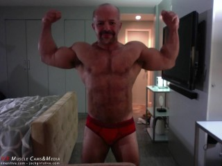 Ali Badi Posing in Red Trunks