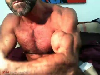 Hairy Flexing Muscle Daddy