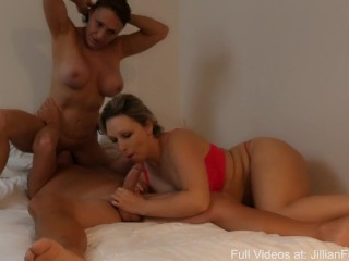 Jillian Foxxx Busty Milf BJ Threesome