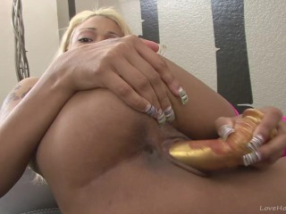 Blonde ebony babe in pink stockings masturbating