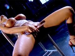 Big tit brunette Sandee Westgate rubs her pussy