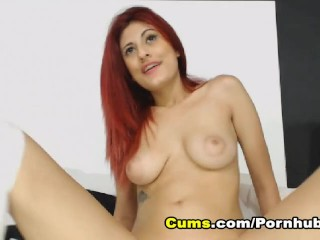 Redhead Babe Shows Pussy Covered with Cum after Squirting