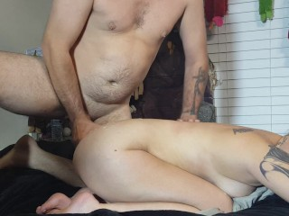 GAMING, GETTING HIGH, DOGGY, FUCKED HARD, CUM ON MY ASS!