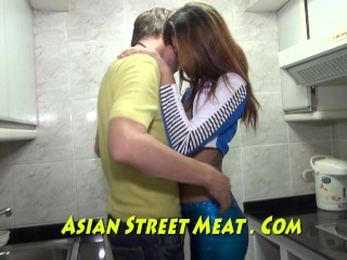 Blue Leggings And Olive Skin Thai Lover