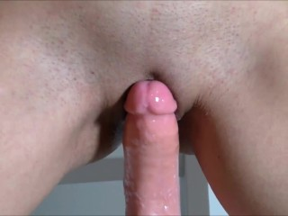 Gigant dildo riding and huge squirting