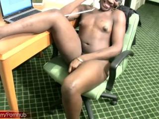 Having a phone sex makes this ebony t-babe secretary cumshot
