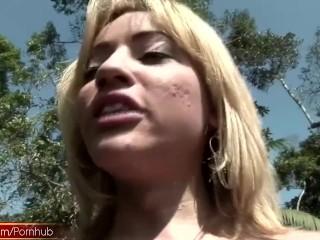 Tgirl slut with massive tits pumps shecock into milk bottle