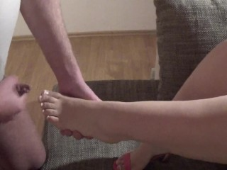 Heel and Footjob with French Nails