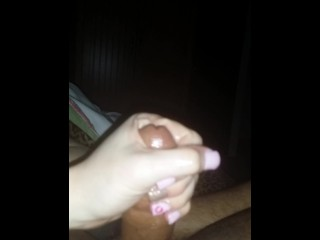 Wifey stroking my lubed up cock