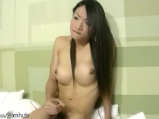 Feminine ladyboy with great bigtits sucks big cock and jerks