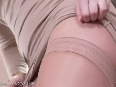 Russian red-head exploring her beauty in tan stockings