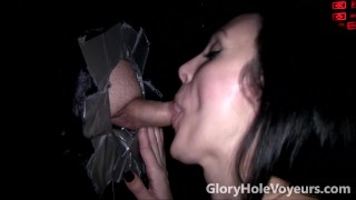 Gloryhole Sexy Brunette Sucks Small Dick  small penis big tits blowjob gloryhole cumshot brunette big boobs bj oral reality gloryholevoyeurs tattoos creampie cock sucking