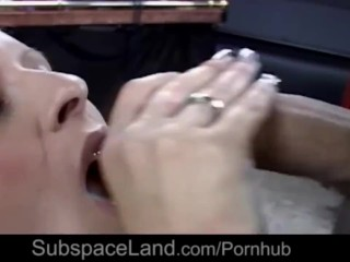 Big natural juggs and big ass in restraint for bdsm utilization