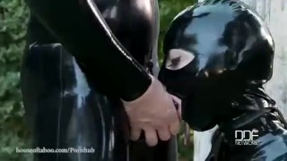 Latex Goddess Demolished With Rubber Cock  latex lucy houseoftaboo outdoors domination kink flogging latex whip big boobs rough sex swallowing barefeet deep throat garden