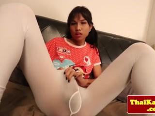 Ladyboy in leggings jerking off at home