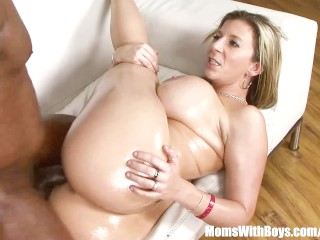 XXX porn - estel-two: Oiled-Up Blonde MILF Sara Jay Fucking Black Cock