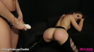 Remy Lacroix fucked with a strapon by Dana Dearmond  strap on dana dearmond remy lacroix spanking babe booty dildo brunette fingering doggystyle natural tits adult toys girl on girl ass licking eating pussy archangelvideo