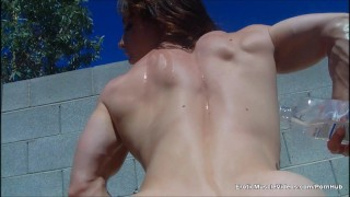 EroticMuscleVideos BrandiMae's Sensual Ripped Physique  big clit outside masturbate public bruentte fitness fetish oiled bigtits eroticmusclevideos fbb muscle big boobs female bodybuilder