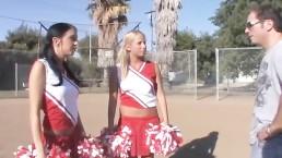 Hot Threesome With 2 Cheerleaders!