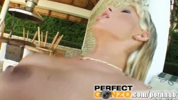 Blonde babe with fake tits gets asshole pounded poolside
