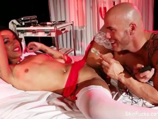 Behind the scenes with sexy nurse Skin Diamond