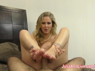 Julia Ann is Horny & Gives Footjob!