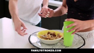 FamilyStrokes - Mothers Day Threesome With Step-Mom  step-mother blonde step-daughter busty bigtits smalltits brunette familystrokes petite 3some threesome small-tits step-mom facialize group facial adria danica