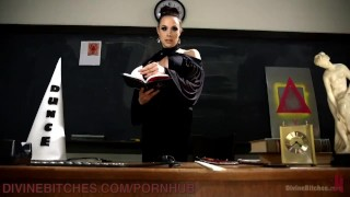 Femdom Manifesto Lesson  over the knee ass fuck ball gag high heels scum manifesto big tits pegging strapon bdsm humiliation femdom kink bondage blindfold dog crate paddling school