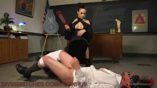 Femdom Manifesto Lesson  over the knee ass fuck ball gag scum manifesto big tits high heels pegging strapon blindfold bdsm humiliation femdom kink bondage dog crate paddling school