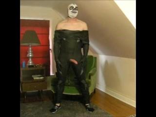 frogman wearing lucha libre skeleton mask