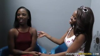 Jezabel Vessir and Sarah Banks - Gloryhole Initiations  hd videos ebony black blowjob gloryhole pornstar fetish hardcore dogfart interracial dogfartnetwork huge cock threesome glory hole 3some ffm