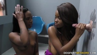 Jezabel Vessir and Sarah Banks - Gloryhole Initiations  ebony blowjob gloryhole pornstar fetish hardcore interracial hd videos 3some glory hole huge cock black ffm dogfart dogfartnetwork threesome
