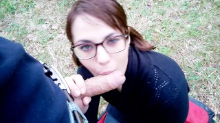 Blowjob in the forest: planted on the cock and cumshot in mouth