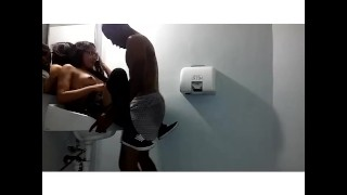 bbc fucks asian gf pt.2  petite perky tits public bathroom oriental glasses bbc lingerie homemade raven small public