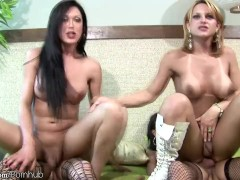 Dark haired t-girls ride four big shecocks with thick asses
