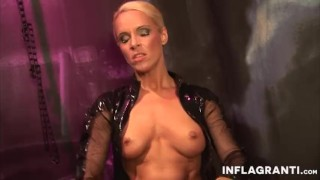 INFLAGRANTI German Latex Dominatrix  big tits piercings masturbation dildo femdom leather busty toys german fingering orgasm inflagranti fake tits shaved pussy