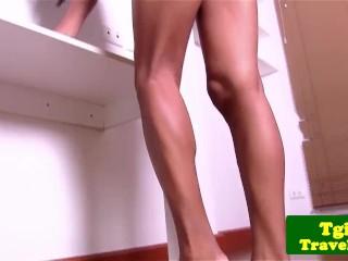 Sensual transsexual strips and masturbates