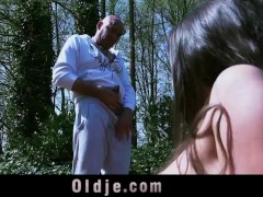 Grossly old guy wanking while spying his next door girl in the garden