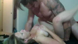 girl with big tits gets fucked by a tattooed Jock  doggy style big ass babe big-tits blowjob tattoo big-boobs female-friendly jock muscles brunette hunk rough muscle tattoos abs