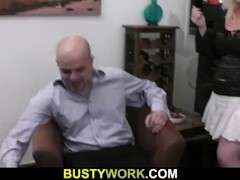 Blonde plumper sucks and rides his meat