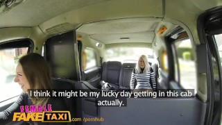 FemaleFaketaxi Busty blonde licks her first pussy