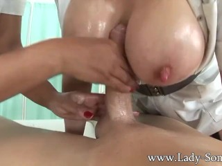 Lady Sonia and friend give oily hadjob cum big tits