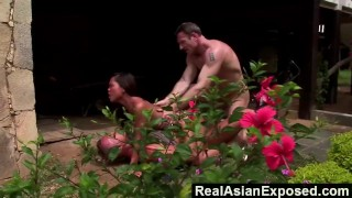 RealAsianExposed - We'll Fix Your Lawnmower If You Let Us Fuck You  ass fuck jade sin big tits babe outdoors asian blowjob hardcore interracial brunette threesome realasianexposed anal facial double penetration