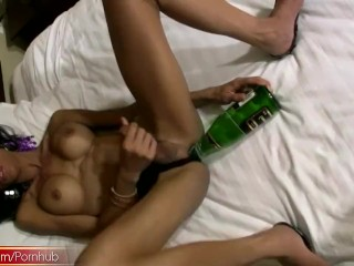 Bigtitted tranny gets thick cock inside her gaping anal hole