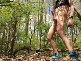 Dirty boy pissing and playing naked in the woods