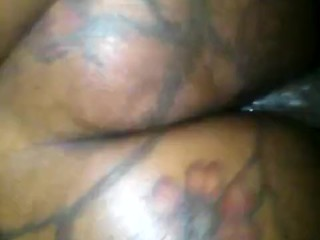 Tatted big booty gets back shots