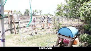 Preview 1 of BFFS - Hot Country Girls Share A Cock